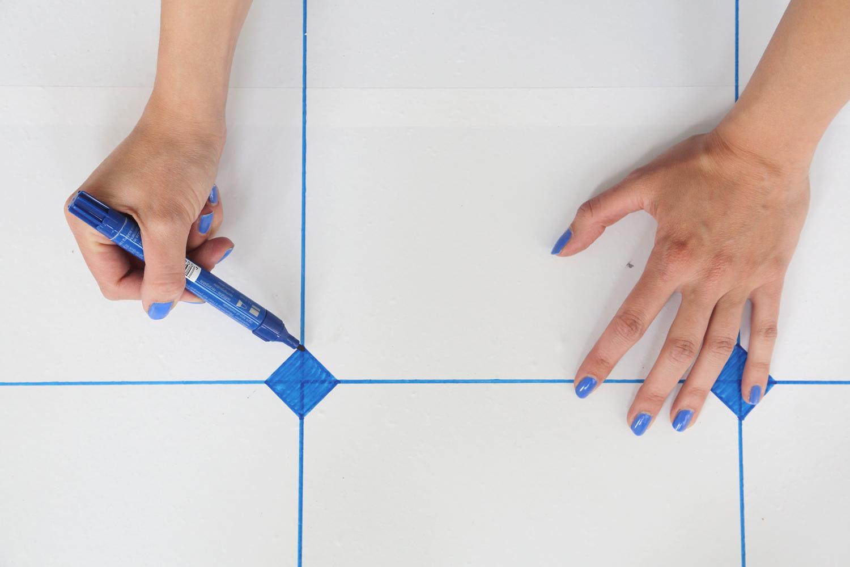 Rhénanie - Blue Tiles pour le sol de l'exposition Blue Mood à la Chapelle St Quirin